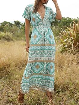 Deep V Neck Print Short Sleeve Boho Maxi Dress