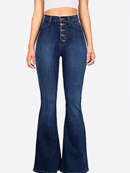 Fashion High Waist Button Up Flare Jeans