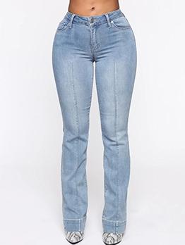 Solid Mid Waist Straight Leg Jeans