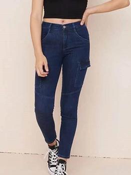 Solid Mid Waist Pockets Skinny Jeans