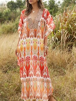 Deep v Neck Bat Sleeve Print Maxi Dress