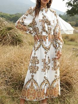 Court Style Print Long Sleeve Shirt Maxi Dress