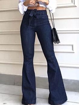 Chic High Waist Tie-Wrap Flare Jeans