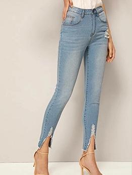 Split Hem High Waist Light Blue Skinny Jeans