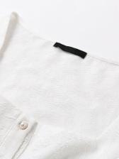 White Ruffled Short Sleeve Square Neck Blouse