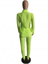Solid Turndown Collar Two Piece Pants Set