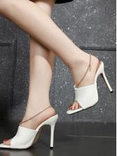 Animal Embossed Chain Open Toe Slipper Shoes