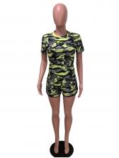 Short Sleeve Camouflage Two Piece Short Set