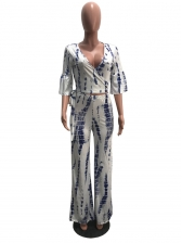 Vintage Tie-Wrap V Neck Printed Two Piece Outfits