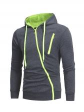 Individual Men Slant Zip Up Hoodies