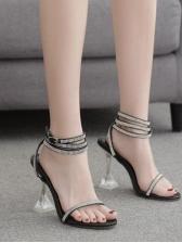 Spool Heel Transparent Rhinestone Sandals