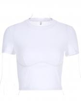 Solid Short Sleeve Short Crew Neck T Shirt