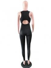 U Neck Stripes Patchwork Sleeveless Jumpsuit