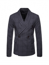 Double-Breasted Plaid Long Sleeve Men Blazer Outerwear