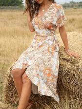 Vacation Style V Neck Short Sleeve Wrap Dress