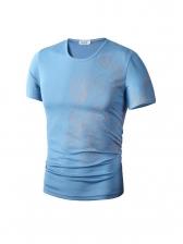 Crew Neck Print Short Sleeve Tee Shirts