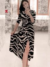V Neck Split Hem Zebra Striped Wrap Dress