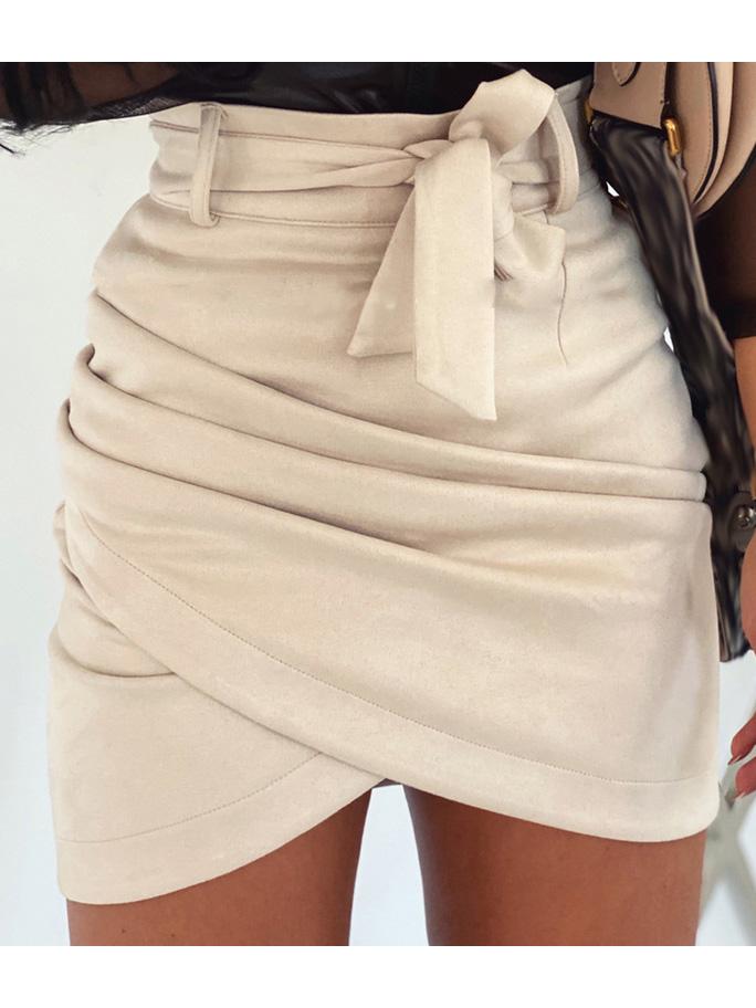 Fashion Solid Pleated Mini Skirt