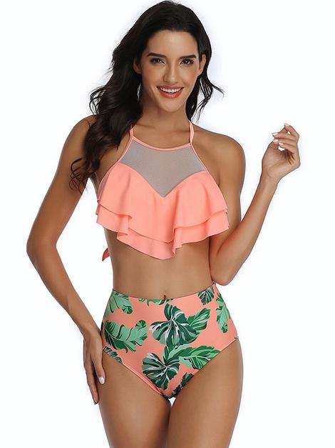 Gauze Patchwork Ruffle Hem Print Bathing Suits