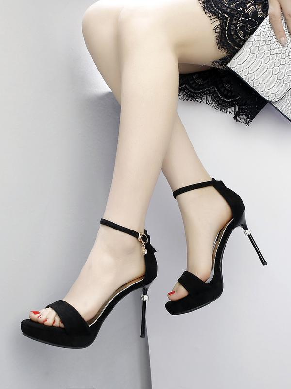 Suede Ankle Strap Solid Stiletto Platform Heels