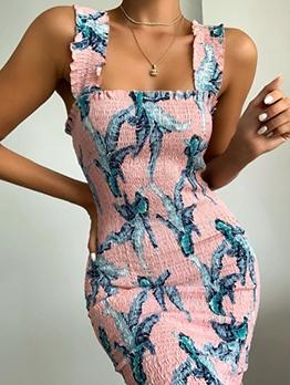 Square Neck Elastic Flower Printed Summer Ladies Dress