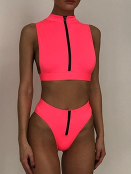 Solid Color Mock Neck Zipper Up Bathing Suit