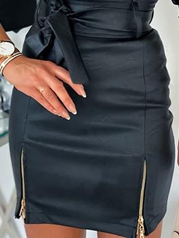 Zipper Hem Pu High Waist Mini Skirt