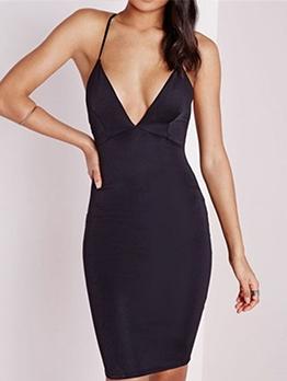 Crossed Belt Backless Deep V Neck Black Slip Dress