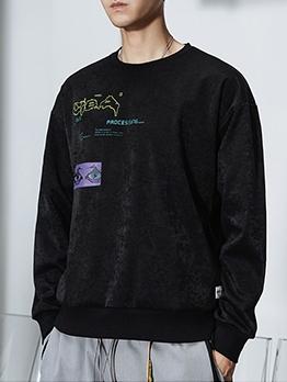 Vintage Print Suede Oversized Sweatshirt