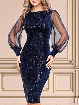 Perspective Gauze Sleeve Sequined Ladies Dress