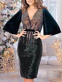 V Neck Split Sleeves Glitter Sequin Party Dresses