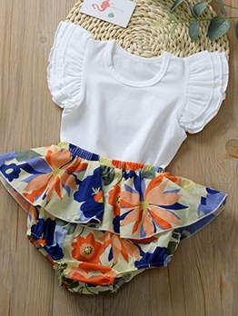 Ruffle Sleeve Solid Rompers With Panties For Baby