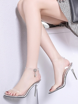 Transparent Belt Stiletto Ankle Strap Sandals