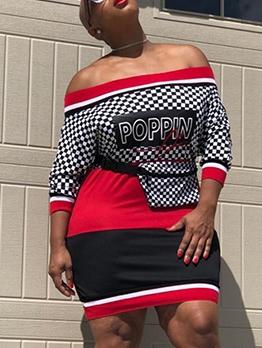 Contrast Color Plaid Off The Shoulder Ladies Dress