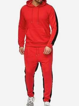 Stitching Color Hooded Men 2 Piece Activewear Sets