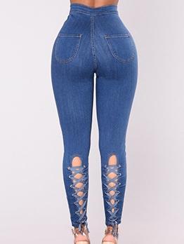 Fashion Crisscross Female High Waisted Jeans