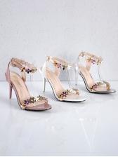 Stereo Flower Slingback Heel Sandal