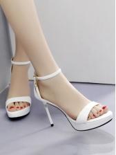 Ankle Strap Solid Stiletto Platform Heels