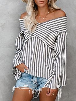 Off Shoulder Ruched Striped Blouse