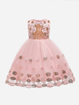 Beading Decor Sleeveless Flower Girl Gown