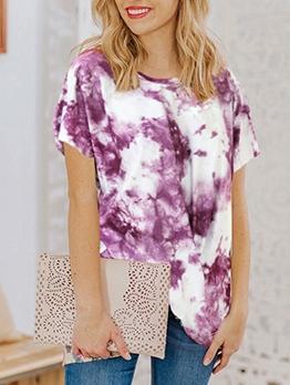 Twist Knot Short Sleeve Women Tie Dye T Shirts