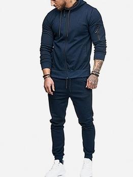 Simple Solid Hoodies Men Activewear Sets