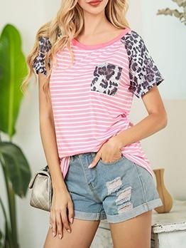 Stripes Patchwork Leopard Print Crew Neck T Shirt