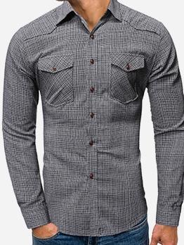 Leisure Dual Pockets Plaid Men Long Sleeve Shirts