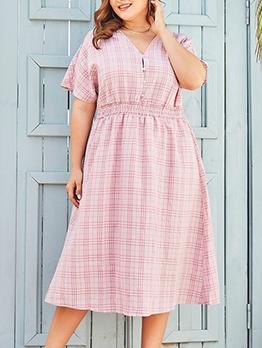 Summer V Neck Pink Plaid Plus Size Maxi Dress