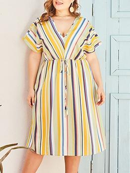 Colorful Striped V Neck Short Sleeve Plus Size Dress