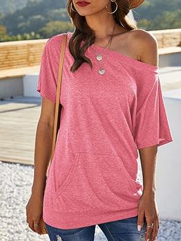 Inclined Shoulder Solid Color Plain T Shirts