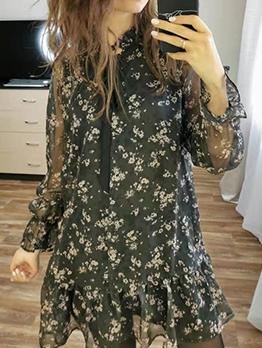Tie Neck Black Long Sleeve Floral Dress For Summer