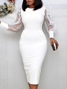 Crew Neck Tulle Patchwork White Ladies Dress