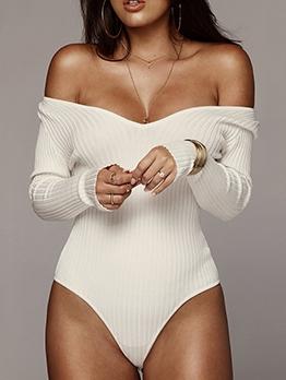 Easy Matching Solid Long Sleeve V Neck Bodysuit